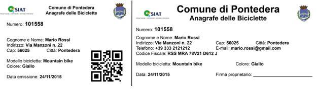Siat Anagrafe bici Certificato